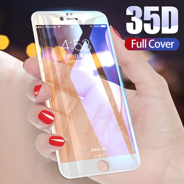 35D Curved Edge Full Cover Protective Glass On The For iPhone 7 8 6 6S Plus Tempered Screen Protector For X XR XS Max Glass Film