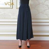 VOA Высокая талия Palazzo широкие брюки тяжелый шелк свободные брюки для женщин Broeken дамы повседневное pantalon плюс размеры темно синие K5330