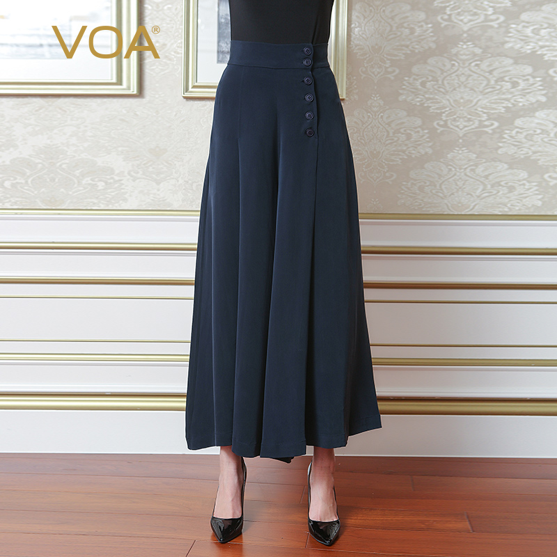 VOA High Waist Palazzo   Wide     Leg     Pants   Heavy Silk Loose Trousers Women Broeken Ladies Casual pantalon Plus Size Navy Blue K5330