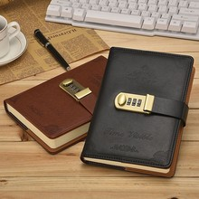 B6 Korea Retro Notebook Password Book with Lock Creative School Office Supplies Stationery Personal Diary Journal Cover planner