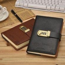 B6 韓国レトロなノートブックパスワードロックとクリエイティブ学校事務用品文房具個人日記ジャーナルカバープランナー