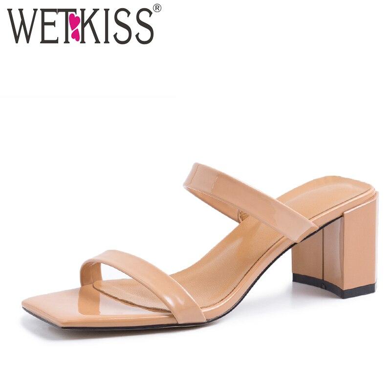 WETKISS جلد طبيعي البغال النساء النعال صقر حذاء مزود بفتحة للأصابع سميكة عالية الكعب الشرائح الإناث البغال الصيف امرأة أحذية 2019 جديد-في شباشب من أحذية على  مجموعة 1