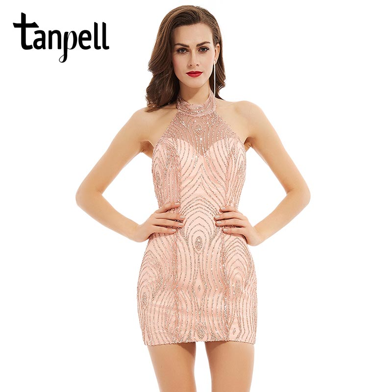 Tanpell Halter Neck Cocktail Dress Sexy Backless Sheath Sequined Pink Above Knee Sleeveless Dress Party Short Cocktail Dresses