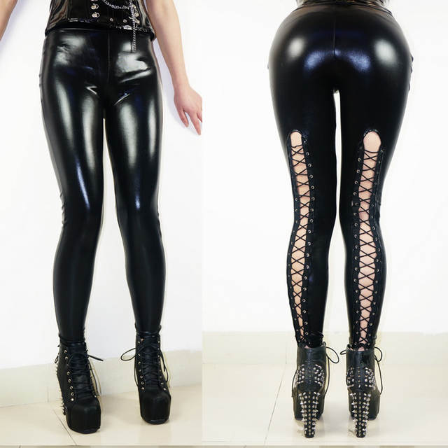 880e5cdd0bba8 placeholder Top Quality Sexy Shiny Punk Style Faux Leather Leggings Gothic  Back Lace-up Black Leggings