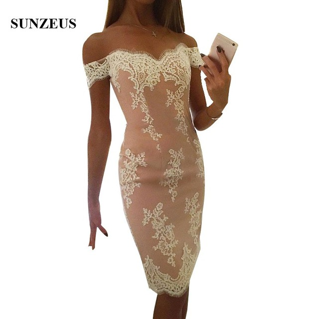 Sheath Sweetheart Off Shoulder Bridesmaid Dress Knee Length Short Prom Party Dress Lace Gowns For Women