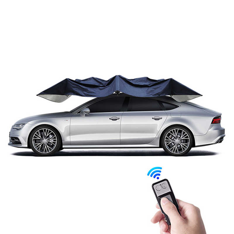 Folded Remote Control Carport Car Umbrella Sunshade Protection Canopy Anti-UV Water-Proof Anti-Snow Frost Ice Guard 4.2m//165inch,Blue Automatic Car Tent for All Season