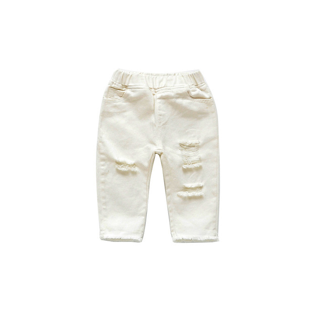 2019 Spring Autumn Baby Girls Ripped Jeans Children Kids Broken Hole Pants White Color Girls Elastic Waist Denim Pants 4