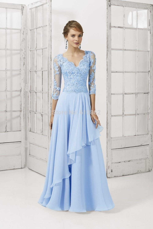 2017 New Chiffon Beaded Lace Half Sleeves Light Blue Prom
