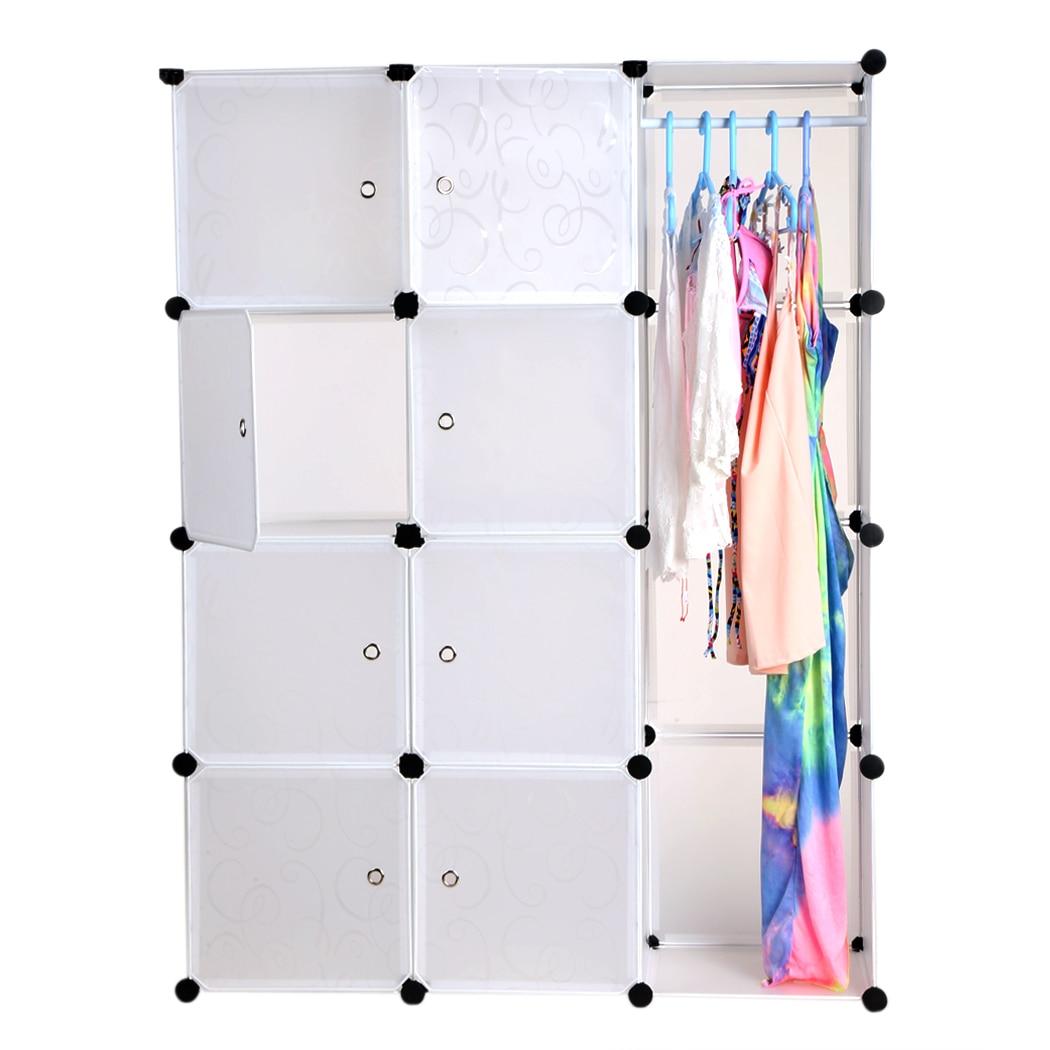 12 полок ПП Материал DIY складной сочетание портативный шкаф для хранения Организатор шкаф Вешалка Белый N20A