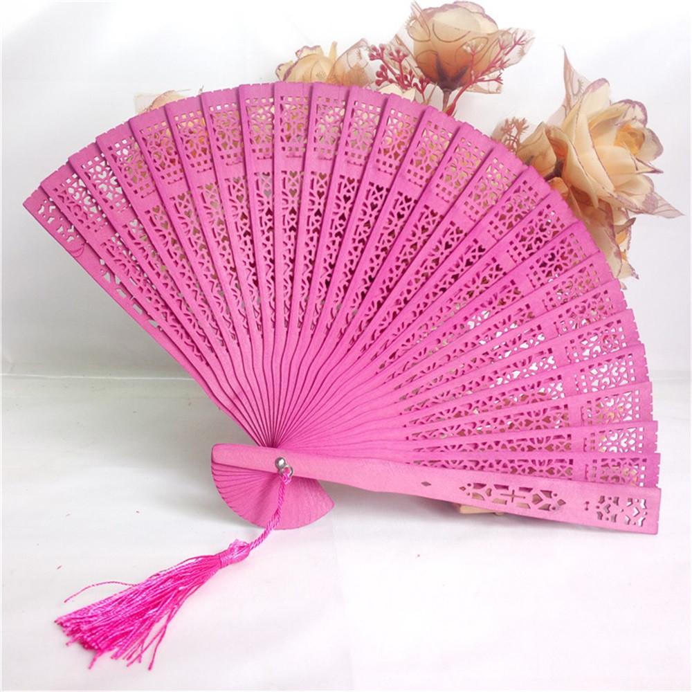 Decorative Fans Wedding Hand Fragrant Party Carved Bamboo Folding ...