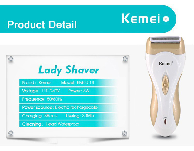 110-240V kemei rechargeable lady shaver women epilator electric hair remover depilador hair shaver removal for women