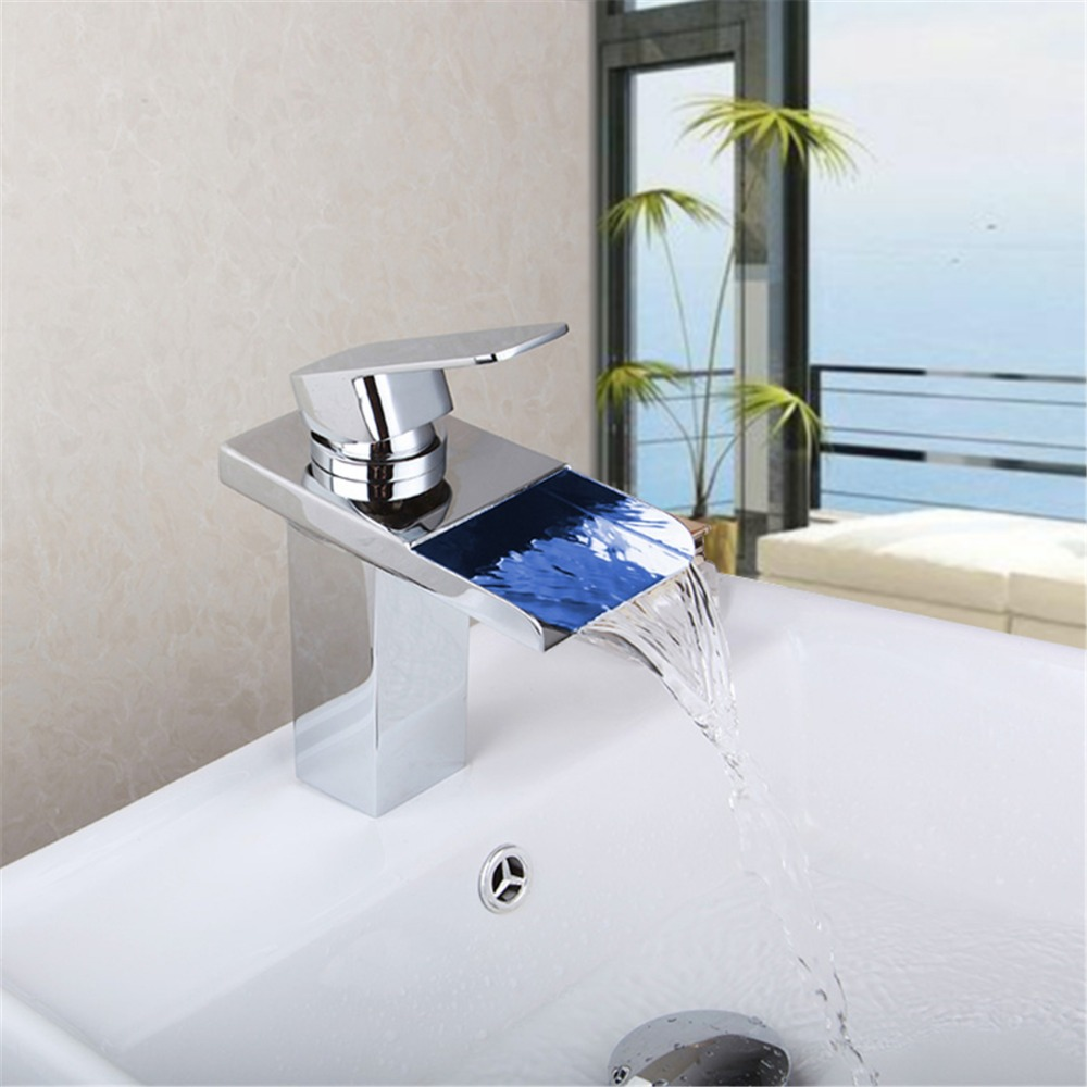 Bathroom Faucet Brass Chromed Waterfall Bathroom Basin Faucets Color Change Led Tap Water Power Basin led Mixer Led Faucet цена и фото