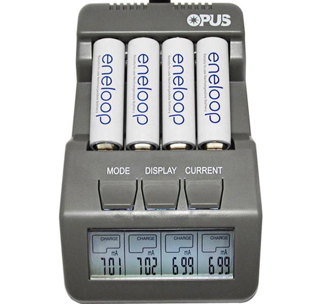 Envío Libre Opus BT-C700 NiCd NiMh LCD Digital Inteligente AAA 16340 14500 rcr123 aa 4 ranuras cargador de batería de la ue ee. uu. adaptador