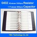 O envio gratuito de 0402 Livro Amostra SMD Resistor de 63 valores 3300 pcs Kit e 17 valores 950 pcs Conjunto Capacitor