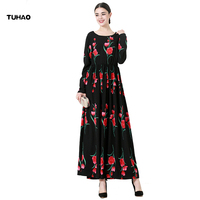 TUHAO Oversize 5XL 6XL Print Rose Muslim Robe Woman Dress Maxi 2017 High Quality Autumn Long