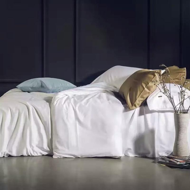 ADREAM 100% Juego de Cama de Algodón blanco Duvet Cover Set Serie de color Sólid
