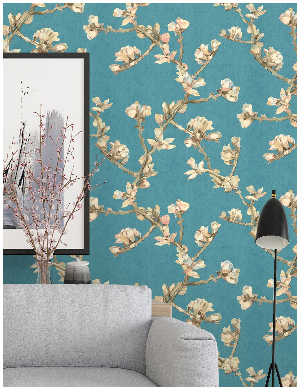 HaokHome Vintage fleur pivoine papier peint pour murs 3d bleu/marron/jaune amovible Textur pour salon Contact papier décor mural