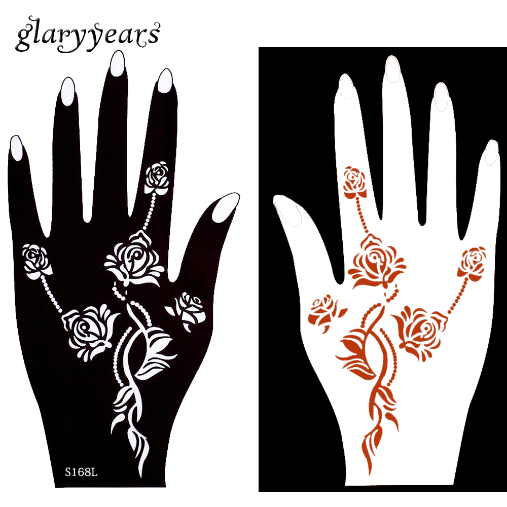 Pairs Mehndi Hollow Henna Tattoo Stencil Rose Flower Colored Drawing Hands Art Women Girl Make Jpg