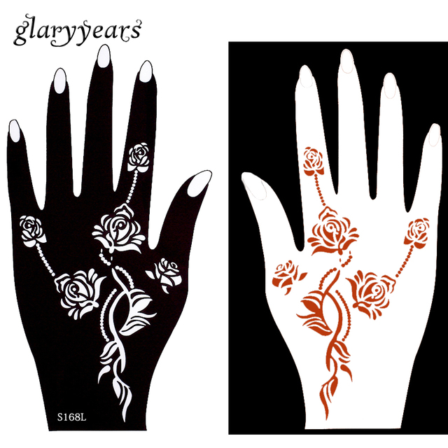 Aliexpress  Buy 3 Pairs Mehndi Hollow Henna Tattoo Stencil Rose
