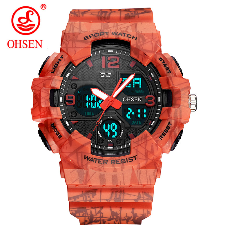 7b1aa5df4a0 OHSEN Analog Digital Men Watch LED Dual Alarm Waterproof 50m Sports  Military Orange Watches Rubber Quartz Clock Hombre Relogio -in Quartz Watches  from ...