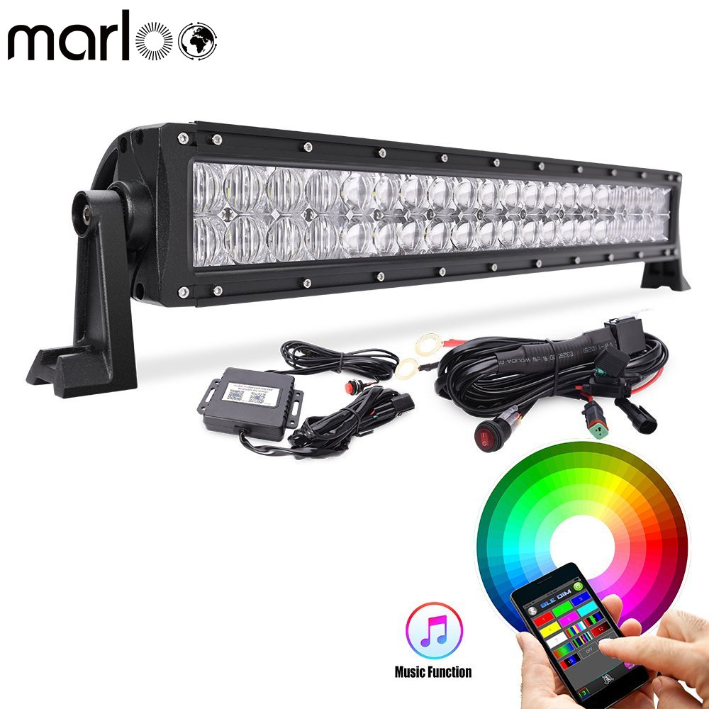 Marloo High Quality 5D Multi-color RGB LED Light Bar 22Inch 120W Light Bluetooth App Control for Off Road Jeep Trucks SUV Boat