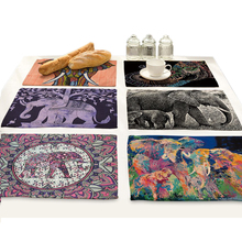 India Elephant Placemat for Dining Table Mat Kitchen Decoration Accessories Coloured Drawing Animal Printing Drink Coasters