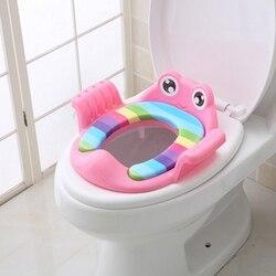 Orinal rosa/Verde/azul de tres colores, orinal de viaje para bebé con dibujos animados, urinario para entrenamiento de niños, fundas de asiento de inodoro PP 1-6Y