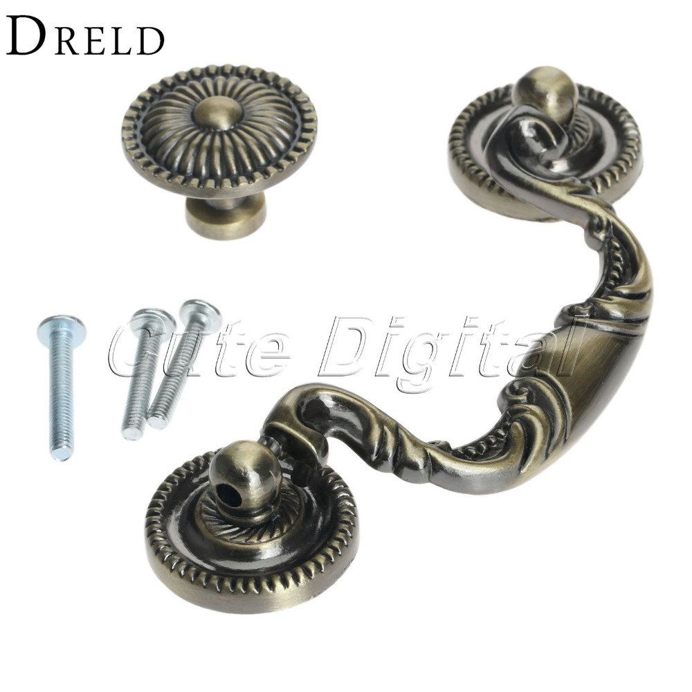 Antique Brass Alloy Kitchen Handles and Knobs Single/Double Hole Modern Drawer Knobs Furniture Cupboard Cabinet Door Pull Handle