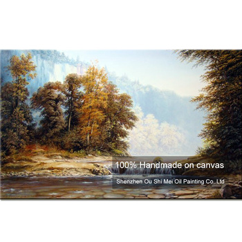 High Skills Artist Handmade High Quality Classical Landscape Oil Painting On Canvas Small Stream Tree Oil Painting Decoration