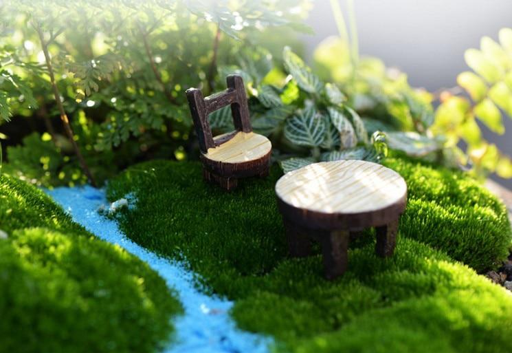 sale~2Pcs table and chair/fairy garden gnome/moss terrarium home decor/crafts/bonsai/bottle garden/miniatures/c042