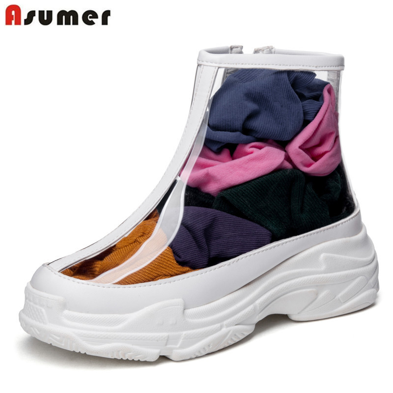 ASUMER plus size 34-46 fashion ankle boots for women transpa
