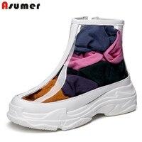 ASUMER plus size 34 46 fashion ankle boots for women transparent autumn women boots woman platform street casual woman shoes