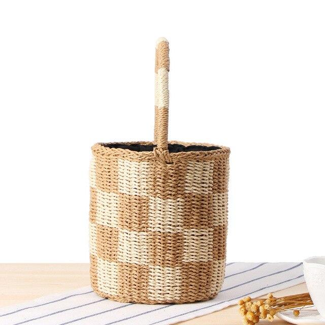 Women Vintage Bucket Paper Rope Hand-woven Cylinder Bag Femmes Bali Straw Handbag Plaid Tote RattanTravel Summer Beach Bags Lady