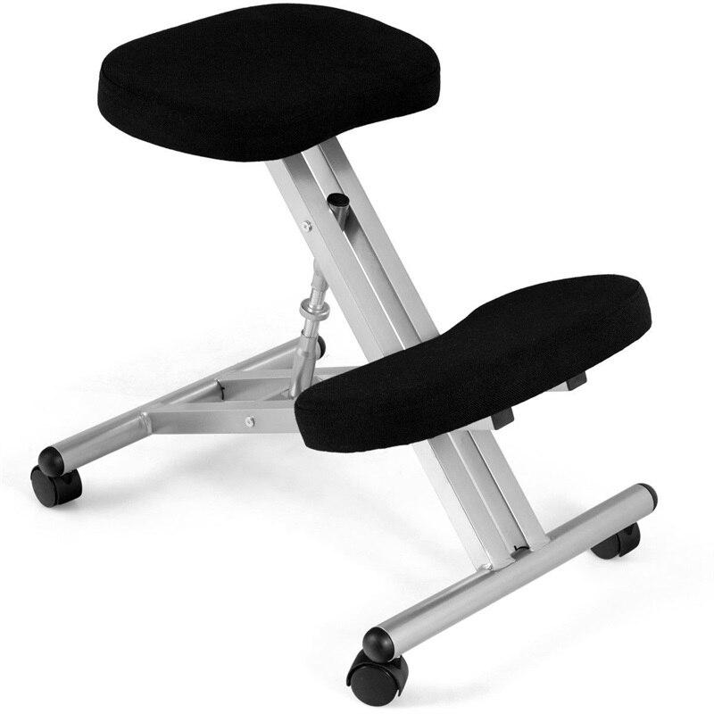 Hauteur réglable ergonomique chaise à genoux roulant siège rembourré bureau travail Compact chaise d'ordinateur avec roues roulantes HW60318