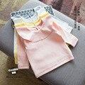 Primavera nuevo bebé volantes algodón collar de peter pan blusas de la muchacha camisetas de la ropa para niños 2017 ropa para bebés sólido superior camiseta