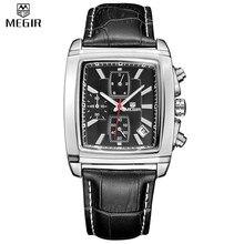 MEGIR Official Quartz Men Watch Genuine Leather Watches Clock Men Chronograph Watch Relogio Masculino for Man Male Students