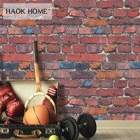 HaokHome Vintage Retro 3d Brick Wallpaper Rolls Red/Peacock blue/Grey/Black Distressed Murals Home Kitchen Bathroom Decoration