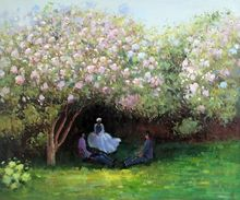 Resting Under the Lilacs by Claude Monet Handpainted