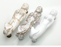 Furniture Handle Mermaid Ceramic Porch Handle White Gold Cracked European Antique Artistic Wardrobe Door Handle