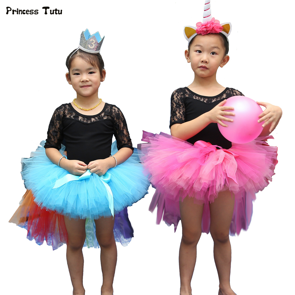 6d3cdace537b Handmade Kids Girls Tutu Skirt Fluffy Short Front Long Back Tulle ...
