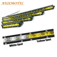 Spot Led Work Light Bar Yellow White Barra Offroad 4WD 18w 36w 54w 72w 90w Single Row Pickup 4x4 12V 24