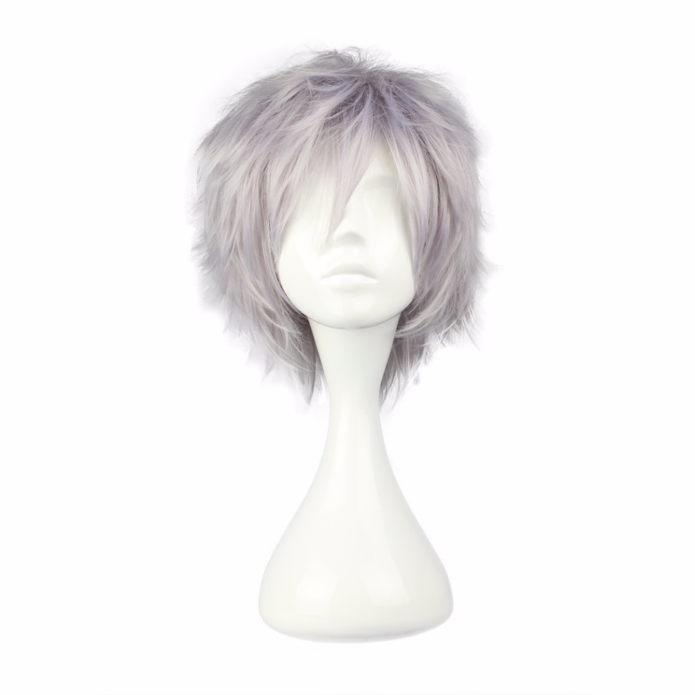 MCOSER Free Shipping 35cm Synthetic Short Gray Cosplay Costume Wig 100% High Temperature Fiber Hair