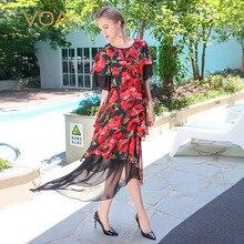 VOA 2017 Summer Red Rose Floral Print Silk Irregular Dress Ruffle Sleeve Plus Size Women Casual Beach Net Yarn Dress ALX08601