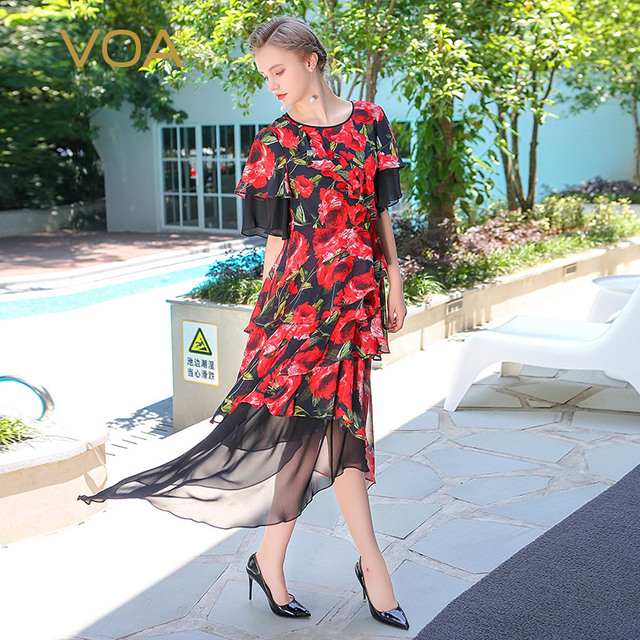 8d6ab72ce51 VOA Summer Rose Red Floral Print Silk Irregular Midi Dress Ruffle Sleeve Plus  Size Women Casual Beach Dresses vestidos ALX08601