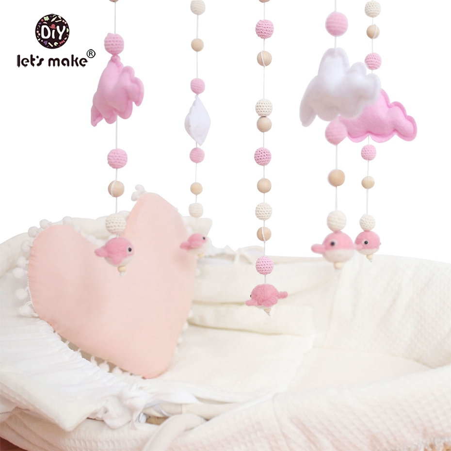 Wooden Baby Mobile Pink Color Toys Baby Crib Mobile Bed Bell Rattle Toys Wooden Wind
