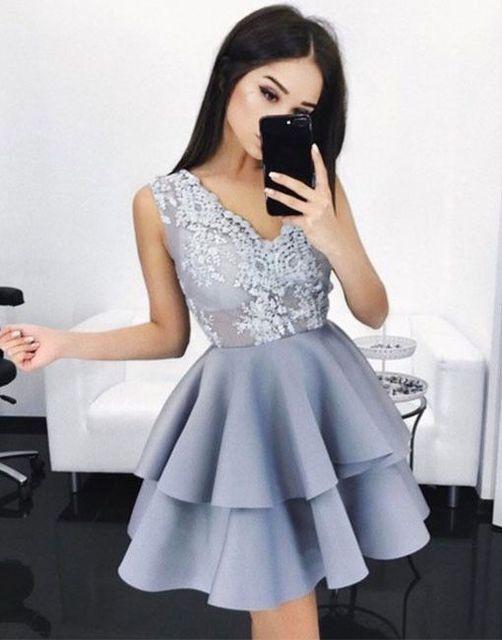 Gray 2019 Homecoming Dresses A-line V-neck Short Mini Satin Appliques Lace Tiered Elegant Cocktail Dresses