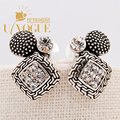 New Rhinestone Flower Stud Earrings Antique Vintage Silver Plated  Bohemia Ethnic  Wedding  UVOGUE Brand Jewelry For Women