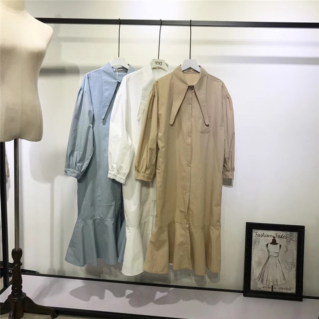 Getsting женское платье-рубашка Винтаж Для женщин Платья для женщин рыбий хвост свободные плюс Размеры 2018 весной лук край листа лотоса халат летняя одежда