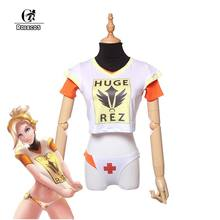ebd3326a066 ROLECOS Game PlayWatch Overpog Magazine Cover Cosplay Costumes D.Va Mercy  Angela Ziegler Cosplay Costumes T-Shirt Full Set