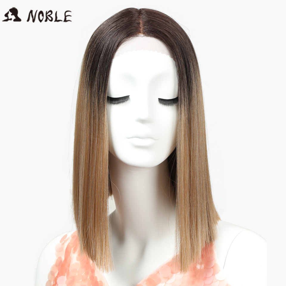 Noble Straight Synthetic Hair Lace Front And T Part Wig 14 Inch Wigs Ombre Wigs Colors Choice Cosplay Wig Free Shipping